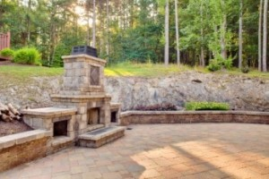 Stone outdoor built-in fireplace NY