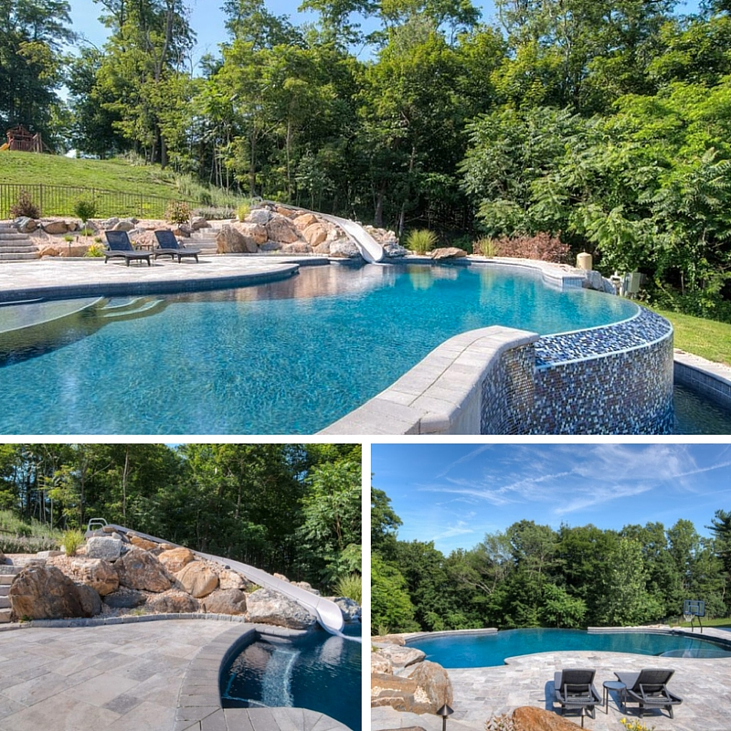 Infinity edge pool with slide in Mahopac, NY