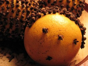 A classic pomander--an orange with cloves