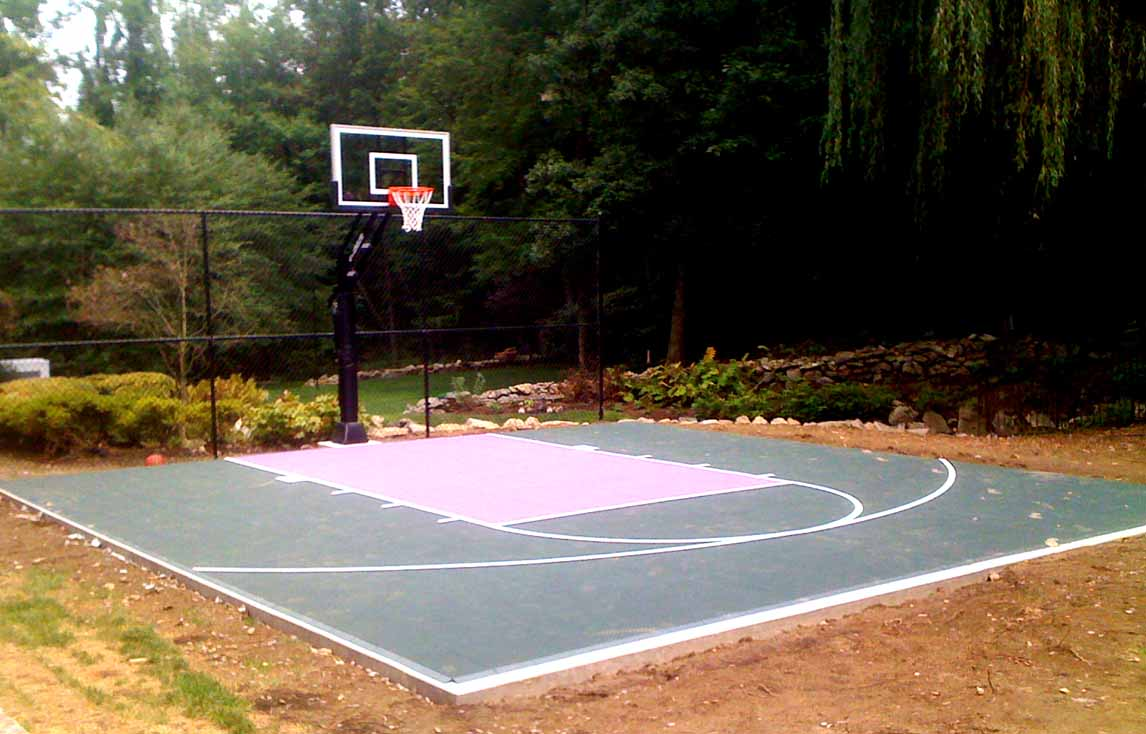 Backyard basketball court layout tips and dimensions for Homemade basketball court